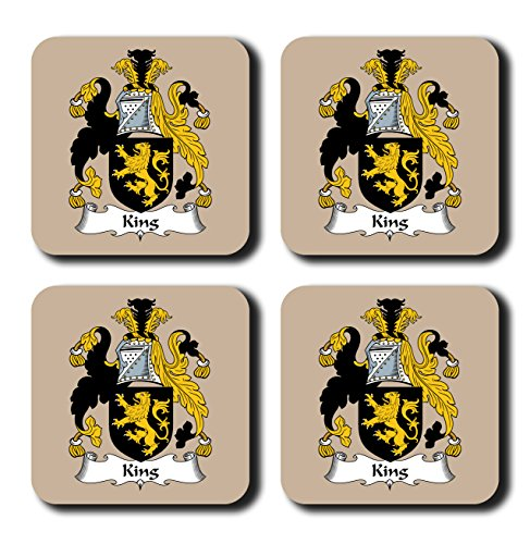 King Coat of Arms/Family Crest Coaster Set, by Carpe Diem Designs – Made in the U.S.A.