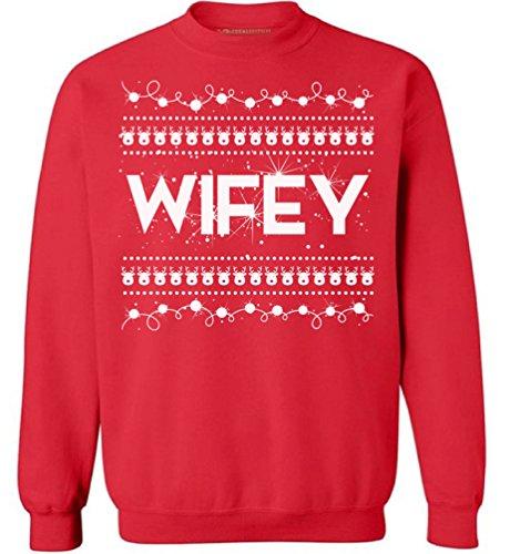 Awkward Styles Christmas Wifey Sweatshirt Ugly Christmas Sweaters Best Wifey Gifts Red S