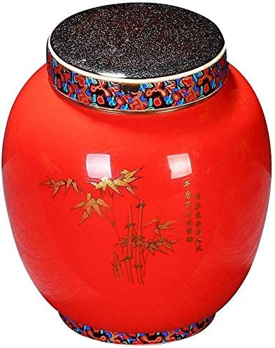 LACC Memorial Hall Pet Urns Color Painting Coffin Dog Cat Ashes Cinerary Casket Ceramics Handcrafted Funeral Tank Moisture Proof Seal Display At Home Corrosion Protection 0220 Size : Red