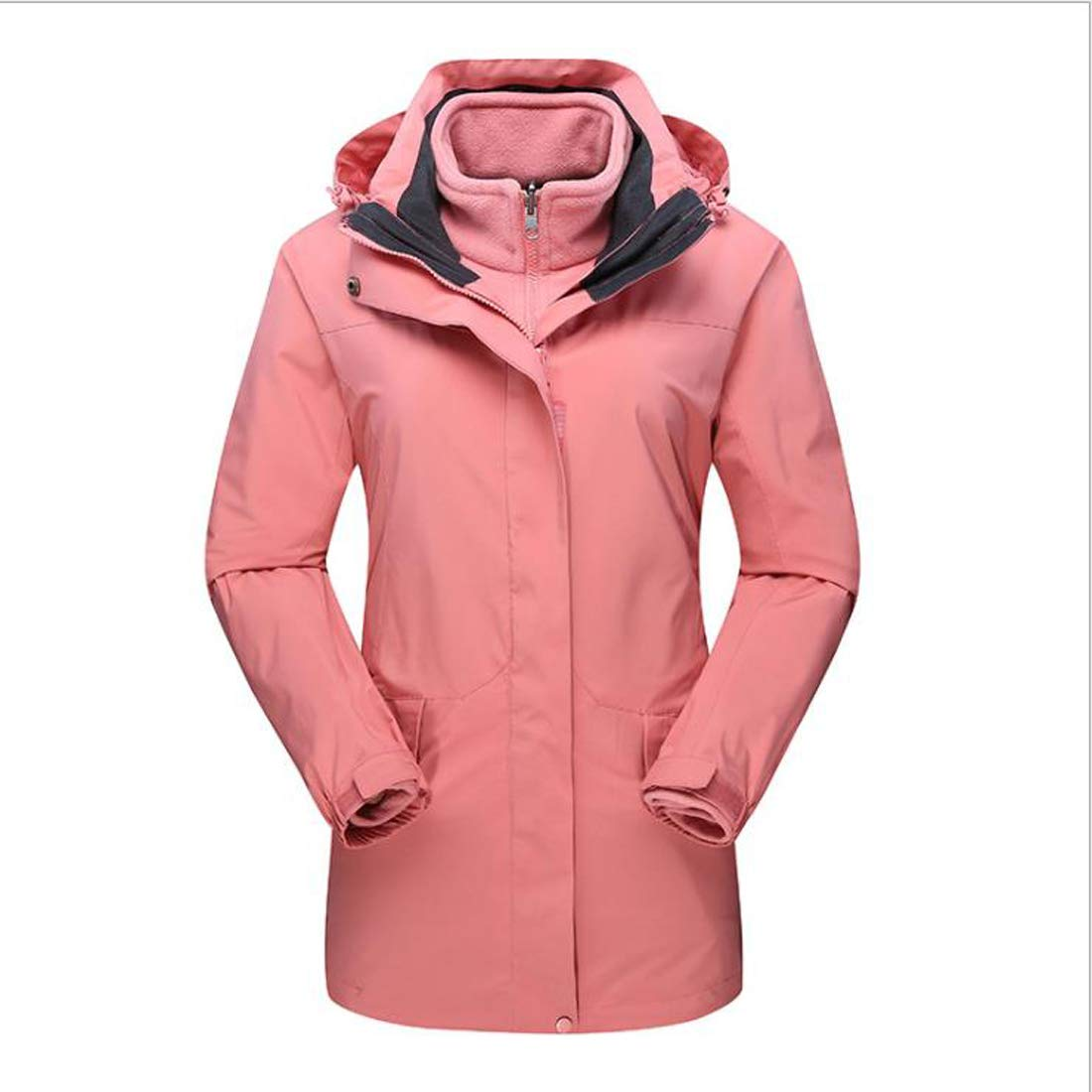 1 AUSWIEI Outdoor Ladies' Jacket, TwoPiece Long Section, Warm Winter Warm Padded Trench Coat (color   01, Size   XXL)