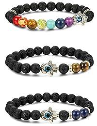 LOYALLOOK 3pcs Evil Eye Bracelet Lava Stone Beads Essential Oil Diffuser Bracelet for Men Women