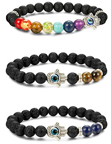 Price comparison product image LOYALLOOK 3pcs Evil Eye Bracelet Lava Stone Beads Essential Oil Diffuser Bracelet For Men Women