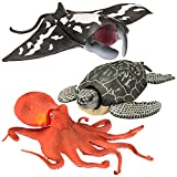 Kid Galaxy Leatherback Turtle, Manta Ray, Giant Octopus Posable Sea Creature Figures (3 Piece), Grey
