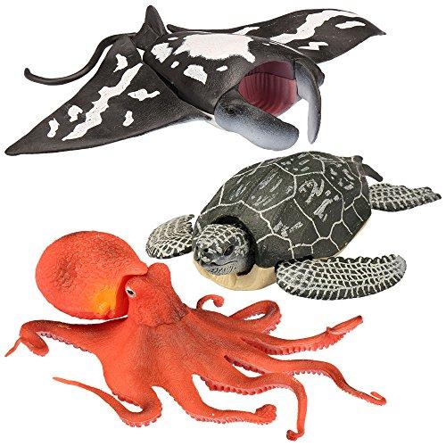 Kid Galaxy Leatherback Turtle, Manta Ray, Giant Octopus Posable Sea Creature Figures (3 Piece), Grey