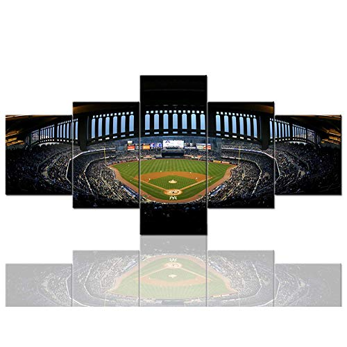Canvases Print New York Yankee Stadium Paintings Major League Baseball Pictures 5 Piece Canvas Wall Art Home Decor for Living Room Framed,A,40x60x240x80x240x100x1