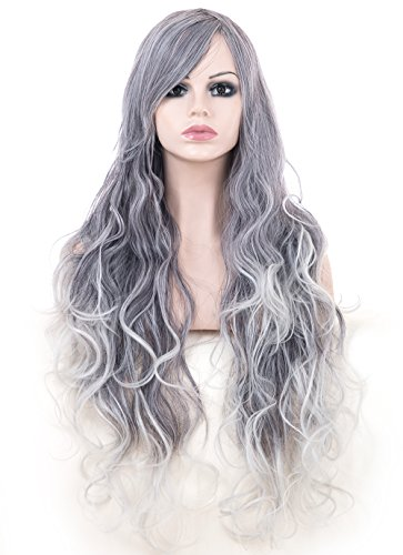 Cosplay Wigs for Women 22 inches Curly Waves Full Head Hair Extensions Gray and White Mixed Color with Bangs for European Women with Free Cap and Comb(SP0004) (Gray and white -