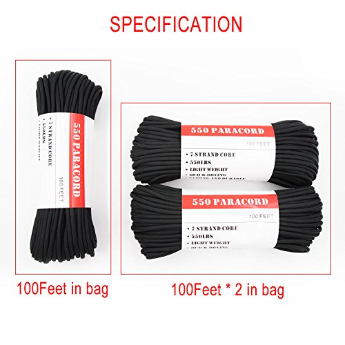 BENGKU Outdoor Survival Mil-SPEC 550lb Paracord/Parachute Cord(MIl-C-5040-H),100Feet,100% Nylon.(Black & Black,200) by BENGKU (Image #5)