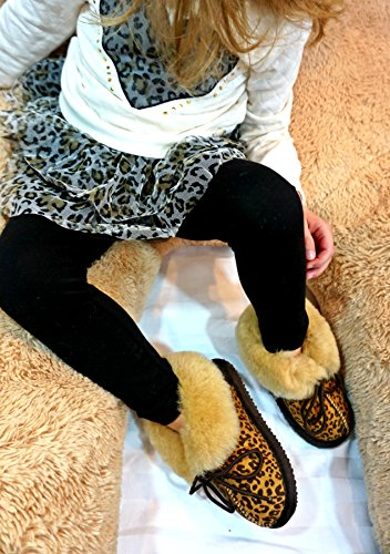 Girls Toddler CooL Kids Warm Slippers BeanS Leopard Sheepskin Brown Little Children's Boots Fur Winter Boys Baby xxAgqF