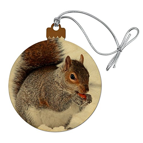 GRAPHICS & MORE Squirrel Eating in Winter Wood Christmas Tree Holiday Ornament (Squirrel Ornament Tree)