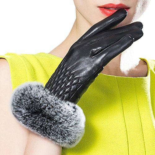 (CASF Women's Winter Lambskin Leather Gloves For Women Rex Rabbit Fur Black M)