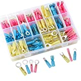 Sopoby 270pcs Heat Shrink Wire Connector Set, Insulated Waterproof Electrical Crimp Terminals, Marine Automotive Spade Ring Terminals Kit with Case