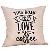 MaxFox Best Lover Gifts,Warm Letter Cotton Linen Removable and Washable Throw Pillow Case Cushion Cover for Car,Beds (D)