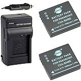 DSTE 2x CGA-S008 CGA-S008E Battery + DC68 Travel and Car Charger Adapter for Panasonic Lumix DMC-FX520 SDR-S25 SDR-S26 DMC-FS20 DMC-FX37 DMC-FX55 DMC-FX500 Camera as DMW-BCE10 VW-VBJ10E BP-DC6