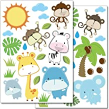 Wandkings wall stickers Baby Safari Animals Sticker Set – 40 stickers on 2 US letter sheets (each 8.3 x 11.7 inch)