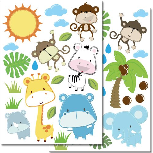Wandkings wall stickers Baby Safari Animals Sticker Set – 40 stickers on 2 US letter sheets (each 8.3 x 11.7 inch) (Tile Safari)