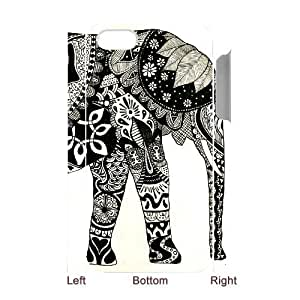 Customized Phone Case with Hard Shell Protection for Iphone 4,4S 3D case with Elephant Art on Aztec lxa#430828