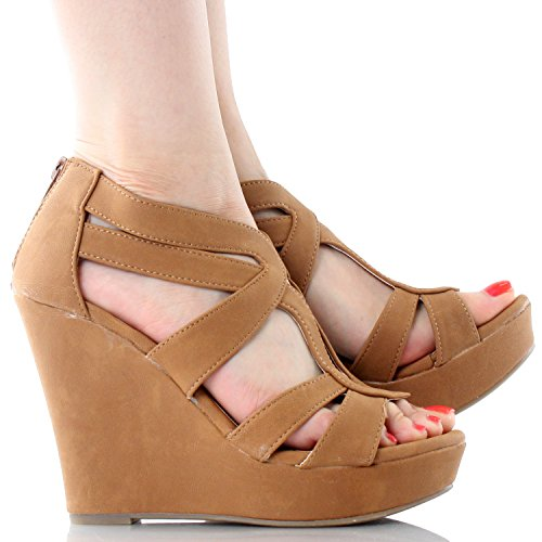 Platform Wedge Comfort PU Lindy Sandals 5 Gladiator Dress JJF Tan High 3 Nubuck Strappy Shoes 41Awq1