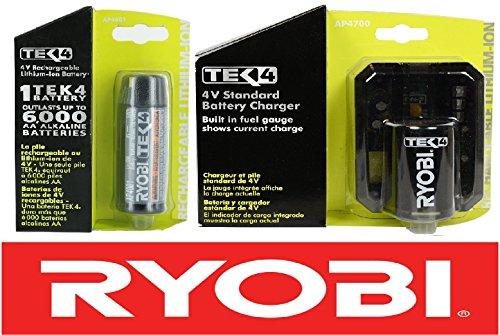 Ryobi 4 Volt Compact Lithium-Ion Tek4 Battery + Standard Cha