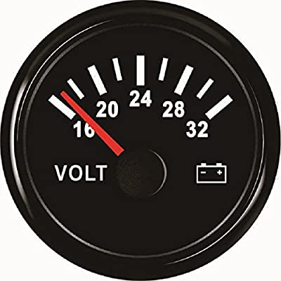 "ELING Voltmeter Voltage Gauge 24V 16-32V 52mm(2"") with Backlight: Automotive"