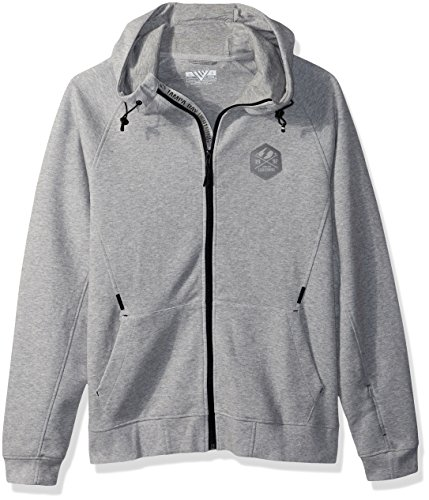 Levelwear LEY9R NHL Tampa Bay Lightning Adult Men Fortress Cross Over Full Zip Hooded Sweatshirt, Small, Heather Pebble