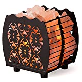 CRYSTAL DECOR Natural Himalayan Hybrid Wired Cube Basket Pink Salt Lamp in a Modern and Contemporary Design with Dimmable Cord - Flanigan