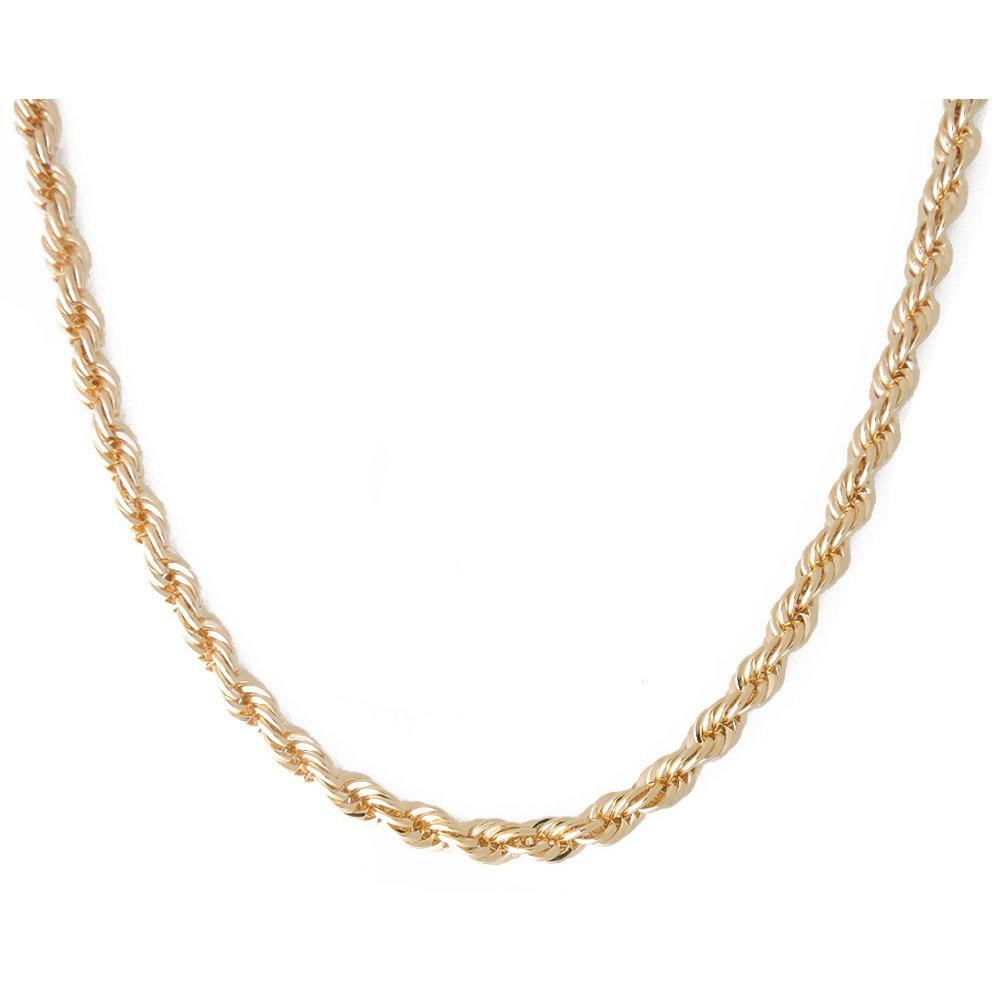 sejin jewelry Collier cha/îne en Or 3mm fran/çais pour Hommes 22 Or Jaune 18 carats