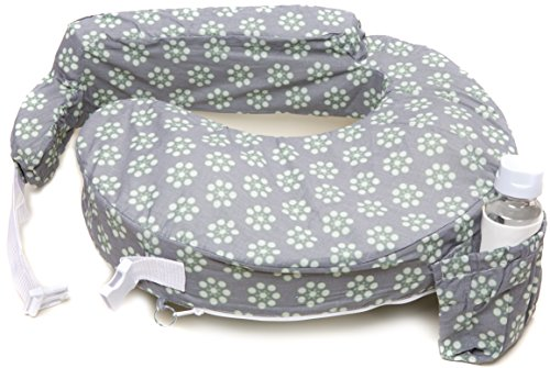 My Brest Friend Nursing Pillow, Sage Dotted Daisies, Grey, Green