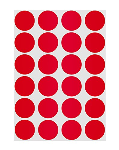 ChromaLabel 3/4 inch Color-Code Dot Labels on Sheets | 1,008/Pack (Red)