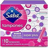 Saba Saba Tampón Con Aplicador Compacto; Absorción Súper Plus/ Flujo Súper Abundante; 10 Piezas, color, 10 cou