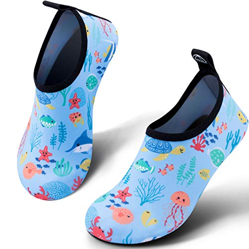 SIMARI Kids Water Shoes Girls Boys Toddler Quick Dry Anti Slip Aqua Socks for Beach Outdoor Sports 308 Fish Blue 2.5-3 -