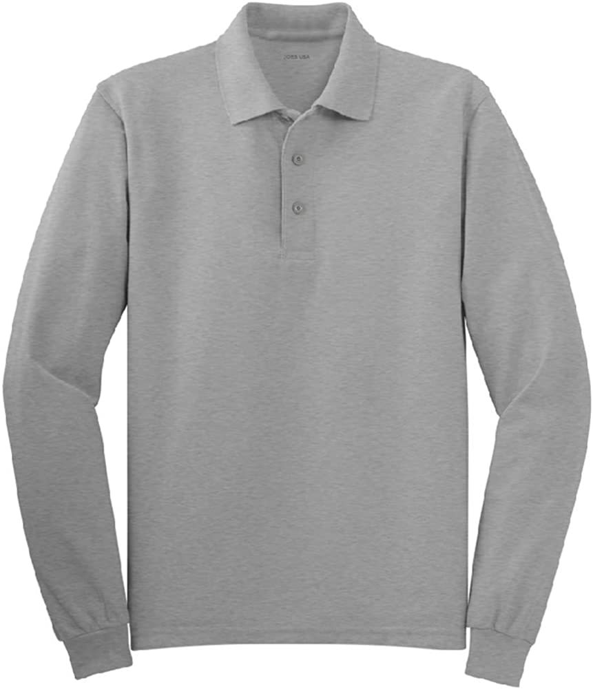 Mens 2X-Large Tall Long Sleeve Polo Shirts in 36 Colors Cool Grey Joes USA