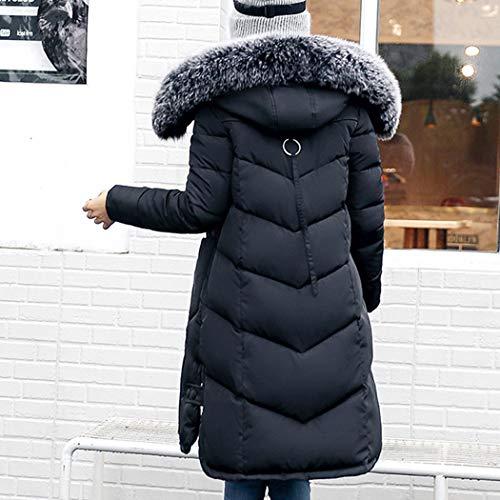 Chaude Hanmax Hiver Taille Grande Coton Mi Doudoune Avec Femme Fourrure Manteau longue Fausse Noir De Capuche qH7SU1wBqx
