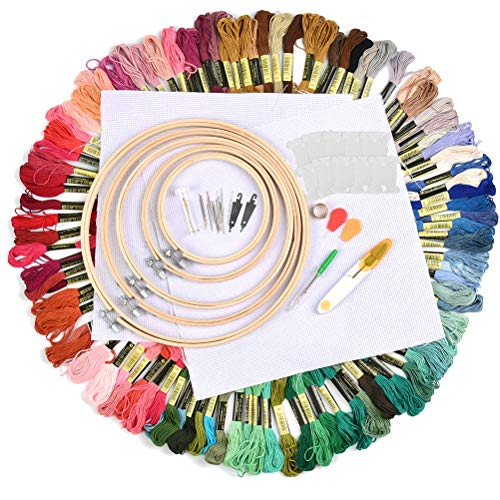 WOWOSS 154 Pcs Embroidery Starter Kit Including 100 Colors Threads, 5 Bamboo Embroidery Hoops, 2 Aida Cloth, 30 Sewing Pins and Cross Stitch Tool Kit for Adults and Kids Beginners
