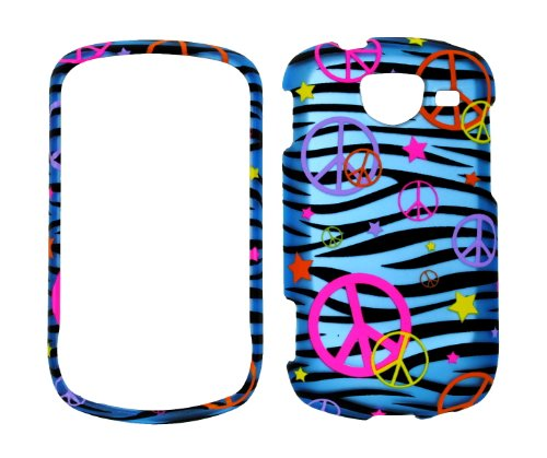 (Colorful Peace Sign on Blue Zebra Strips Rubberized Snap-on Protective Cover Case for Samsung Brightside U380)