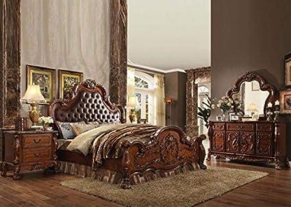 Amazon.com: Esofastore Antique Cherry Oak Finish Tufted ...