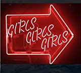Mirsne neon signs, glass tube neon lights, 31'' by 24'' inch Girls Girls Girls Arrow Logo neon signs bar, the best neon sign custom supplied for a wide range of personal uses.