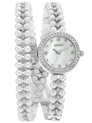Alienwork Quarz Armbanduhr Armreif Kette wickeln Quarzuhr Uhr Doppel Wrap Strass silber Metall YH.KW505S-02