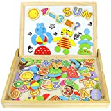 Magnetic Drawing Board Wooden Jigsaw Puzzles Double Sided Blackboard Numbers And Alphabet Game Magnetic Puzzle Board For Kids Up 3 Years Old (90PCS)