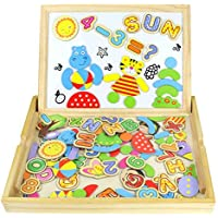 Jouets en Bois Double Puzzles Enfant Magnétique Planche Lettres et Chiffres Jouets Educatif Pour Les Enfants Garçons et Filles de 3 Ans et Plus (90 Pièces)