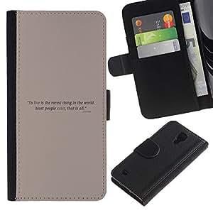 Stuss Case / Funda Carcasa PU de Cuero - Cartel de motivación - Samsung Galaxy S4 IV I9500