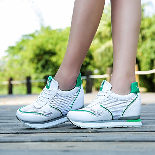 H-Mastery Womens Wedges Hidden Shoes Trainers Fitness Gym Flat Walking Sports Heeled Platform Sneakers white green ouHAj