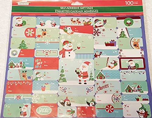 Christmas House Holiday Self-Adhesive Gift Tags (100 Count) with Santa & Snowman Foil & Glitter Embellishments