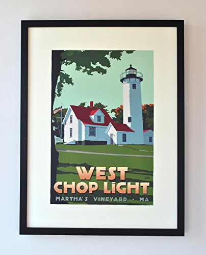 West Chop Light, Martha's Vineyard Framed Print (18x24 Lighthouse Travel Poster, Wall Decor Art) ()