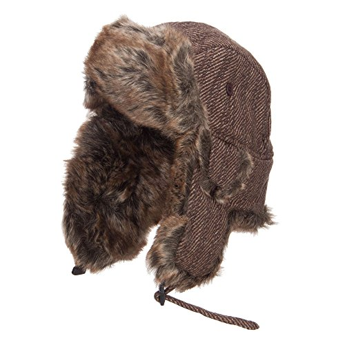 Tweed Faux Fur Winter Trooper Hat - Brown L