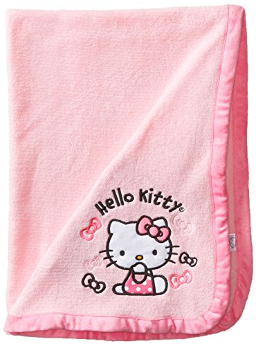 Hello Kitty Baby-Girls Newborn Plush Blanket with Bows