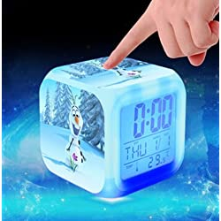 Frozen Princess Elsa Anna Olaf Alarm Clock with 7 Changing Colors Cute Cartoon LED Clock (Style 14)