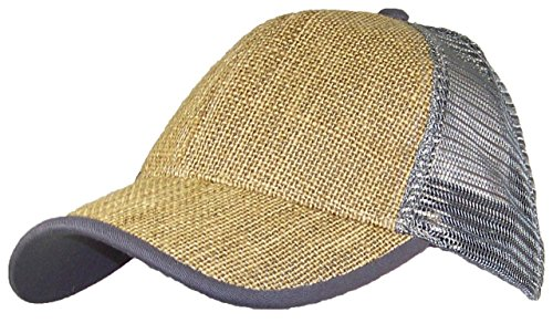 David & Young Mesh & Burlap Snapback Trucker Cap W/Pre-Curved Bill (One Size) - Gray