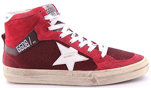 Women's Shoes High Top Sneakers GOLDEN GOOSE 2.12 Bordeaux Net White Star Italy