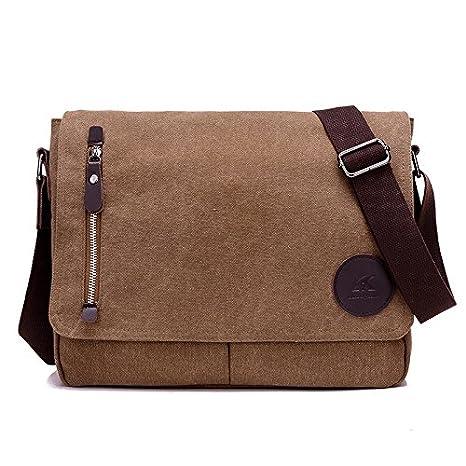6b58500c6a Yingbo Canvas Messenger Bag Shoulder Bag Laptop Bag Computer Bag Satchel Bag  Bookbag School Bag Working Bag for Men and Women (Coffee 4)  Amazon.ca   Luggage ...