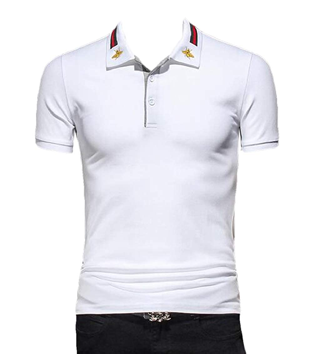 Valoda Men Hipster Button Up Short Sleeve Embroidery Slim Polo Shirt